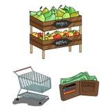 Значки шаржа супермаркета и оборудования в собрании комплекта для дизайна Приобретение сети запаса символа вектора продуктов иллюстрация вектора