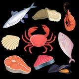 Значки шаржа установили с различным видом морепродуктов Тунец, устрицы, креветка, пресноводная рыба, краб, scallop, salmon стейк иллюстрация вектора