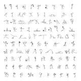 Значки шаржа установили диаграммы ручки 100 людей эскиза маленьких Стоковая Фотография RF
