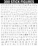 Значки шаржа установили диаграммы ручки 300 людей эскиза маленьких Стоковое Изображение