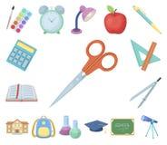 Значки шаржа школы и образования в собрании комплекта для дизайна Коллеж, оборудование и аксессуары vector запас символа иллюстрация штока