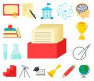 Значки шаржа школы и образования в собрании комплекта для дизайна Коллеж, оборудование и аксессуары vector запас символа бесплатная иллюстрация