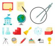 Значки шаржа школы и образования в собрании комплекта для дизайна Коллеж, оборудование и аксессуары vector запас символа иллюстрация вектора