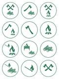 Значки швырка, оси и спичек Стоковое фото RF
