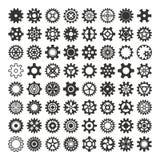 Значки шестерней вектора черные иллюстрация вектора