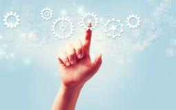 Значки шестерни отжимать руки Стоковая Фотография RF
