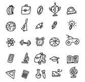Значки школы E Набор значка Doodle руки вычерченный Схематичный мультфильм плана вектора установил объектов и символов школы иллюстрация вектора