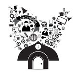 Значки школы вектора черные на белой предпосылке Стоковая Фотография RF