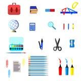 Значки школы и образования, символы, установленные объекты Стоковое фото RF