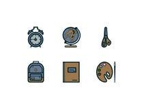 Значки школы плоские Стоковая Фотография