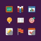 Значки школы. Плоский стоковые изображения rf