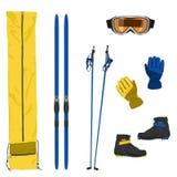 Значки лыжного оборудования Стоковое Изображение RF