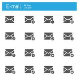 Значки электронной почты плоские серые установленные 16 Стоковое Изображение
