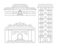 Значки элементов вектора городских современных зданий от простых планов на изолированной светлой предпосылке иллюстрация штока
