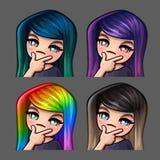 Значки эмоции думают женщина с длинными волосами для социальных сетей и стикеров Стоковое фото RF