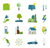 Значки энергии Eco плоские иллюстрация вектора