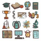 Значки эскиза школьного образования Стоковые Изображения