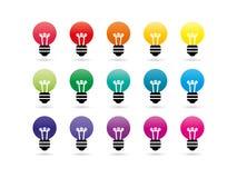 Значки электрической лампочки спектра радуги Стоковые Фото