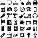 Значки электронного устройства и домочадца Стоковая Фотография