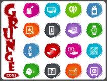 Значки электронной коммерции установленные в стиль grunge иллюстрация вектора