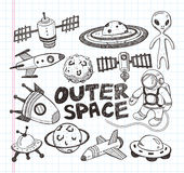 Значки элемента космоса Doodle Стоковые Фото