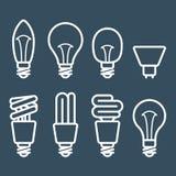 Значки люминесцентной лампы и электрической лампочки Стоковые Изображения RF