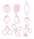 Значки ягоды Стоковое Изображение