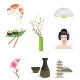 Значки Японии Стоковые Изображения