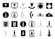 Значки для загружать хранят в плоском стиле в черно-белом Комплект значков вектора для вебсайта или app Различный простой значок  Стоковые Изображения RF