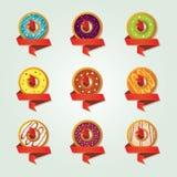 Значки для магазина продавая donuts Стоковая Фотография