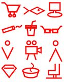 Red supermarket navigation signs on white background, icons, store, market stock illustration