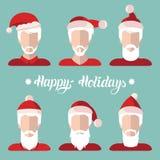 Значки app статей Санты вектора установили в плоский стиль Иллюстрация Xmas с счастливый помечать буквами праздников Новый Год пр Стоковое Изображение RF