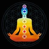 Значки chakra цвета при силуэт делая йогу Стоковое Изображение RF
