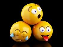 значки 3d Emojis с выражениями лица Стоковое Изображение
