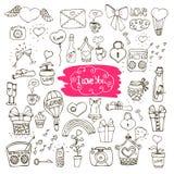 Значки doodle влюбленности Стоковые Изображения RF