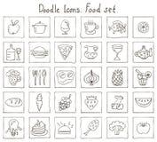 Значки Doodle. Комплект еды Стоковые Изображения RF