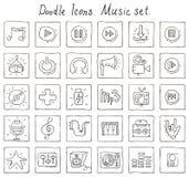 Значки Doodle. Комплект музыки Стоковые Изображения RF