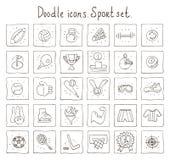 Значки Doodle. Комплект спорта Иллюстрация вектора