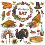 Значки doodle официальный праздник в США в память первых колонистов Массачусетса, венок Цветастый комплект иллюстрация вектора