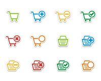 Значки Ecommerce - красочные стикеры Стоковое фото RF
