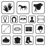 Значки Hippodrome и лошади черные в собрании комплекта для дизайна Сеть запаса символа вектора лошадиных скачек и оборудования иллюстрация штока