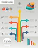 Значки il средств массовой информации цветастой infographic диаграммы социальные иллюстрация вектора