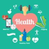 Значки jogging, спортзал здоровой концепции жизни плоские, здоровая еда, метрическая система мер Стоковые Фото