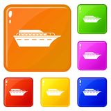 Значки Powerboat установили цвет вектора иллюстрация вектора