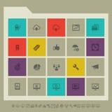 Значки SEO, комплект 2 Пестротканые квадратные плоские кнопки Стоковое Изображение RF