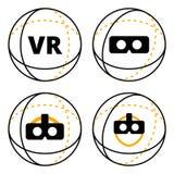 Значки VR в векторе сферы плоском Стоковое Изображение RF