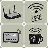 Значки wifi вектора нарисованные рукой Стоковое Изображение RF
