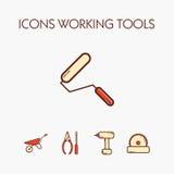 Значки worcking инструменты Стоковое Изображение RF