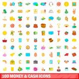 100 значков денег и наличных денег установили, стиль шаржа иллюстрация вектора