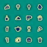 16 значков еды и питья Стоковое фото RF